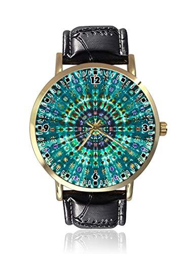 Armbanduhr, modisch, Unisex, Leder-Quarzuhrwerk, mit Batik-Muster - Batik-leder