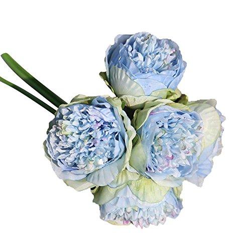 Unechte Blumen Piebo Künstliche Deko Blumen Seidenrosen Pfingstrose Plastik Blumen-Bouquet Kunstblume Blumenstrauß Bridal Bouquet Braut Hochzeitsblumenstrauß für Haus Garten Home Party Blumenschmuck