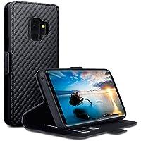 Samsung S9 Hülle, Terrapin Leder Tasche Case Hülle im Bookstyle mit Standfunktion Kartenfächer für Samsung Galaxy S9 Cover - Schwarz Karbonfaser Dessin
