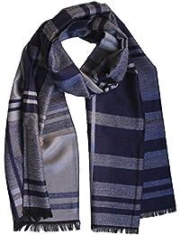 FERETI Echarpe Cachemire Homme Laine Rayures Bleu Châle Ligne Gris Hiver  Épaisse Doux c5f257a7b97
