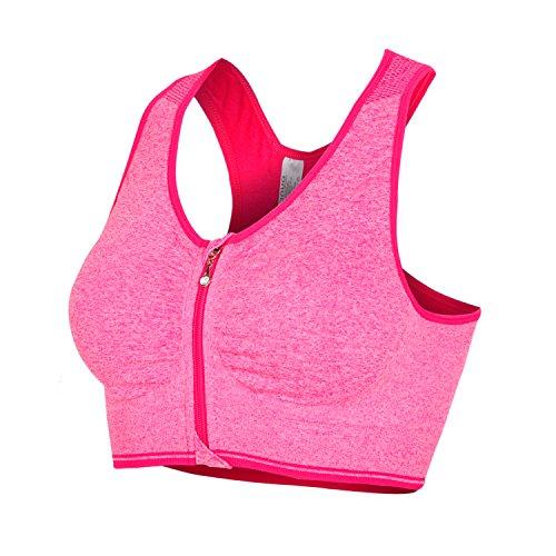 Libella Damen Bügelloser Sport-BH mit Front-Zip Push up Neonfarben 3713 Neonrosa