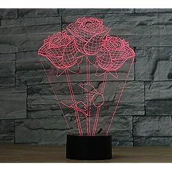 Lampada 3D, VSOAIR 3D Glow Desk Lamp LED Night Light Bianco Caldo (Men: 37)
