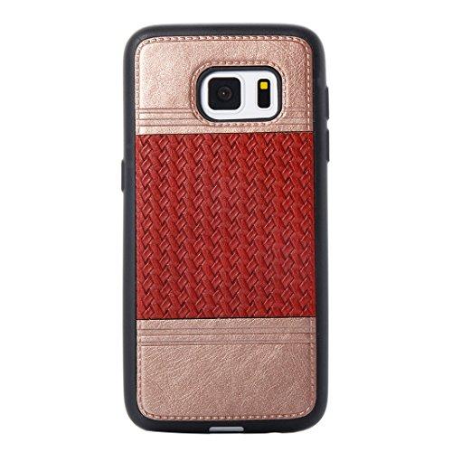 Cover Per Samsung Galaxy S7, Asnlove TPU Moda Morbida Custodia Linee Intrecciate Caso Elegante Ultra Sottile Cassa Braided Stile Tessere Case Bumper Per Samsung Galaxy S7 - Rosa Rosso