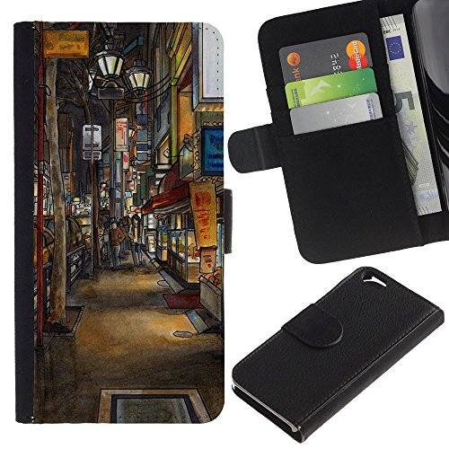 Graphic4You Record Cracks Design Brieftasche Leder Hülle Case Schutzhülle für Apple iPhone 6 / 6S Design #18
