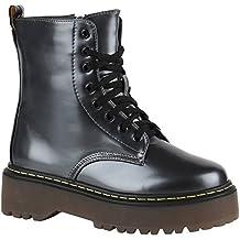 Damen Stiefeletten | Leicht Gefütterte Stiefel | Lack Worker Boots | Leder Optik Schnürstiefeletten | Camouflage Schuhe Profilsohle | Flandell®