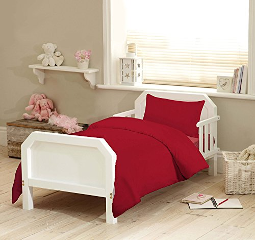 Nursery Bedding 100% Organic Cotton Junior Toddler Cot Bed Duvet Cover With Pillowcase Bed Set (Red)