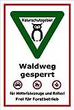 Schild - Naturschutzgebiet - Waldweg gesperrt – 60x40cm mit Bohrlöchern   stabile 3mm starke PVC Hartschaumplatte – S00359-037-B +++ in 20 Varianten erhältlich