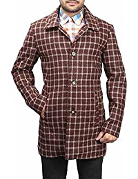 Bareskin men's brown check classic long woolen coat