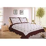 """ADP Home - Colcha Bouti Bordada """"MARTINA"""" cosida y de calidad con funda de almohada – para cama de 150 Color Granate Talla 250X270 CM"""