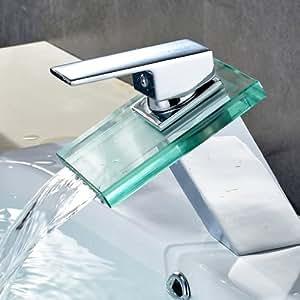 Auralum® Verre Mitigeur pour Lavabo Robinet à monocommande avec cascade pour cuisine et salle de bain
