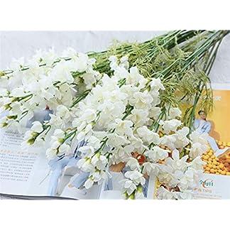Bureze Flores Artificiales de gladiolos de Color Blanco otoño, decoración de orquídeas de Seda Violeta, decoración para casa, Mesa, Boda, arreglos Florales, Fiesta y Eventos.