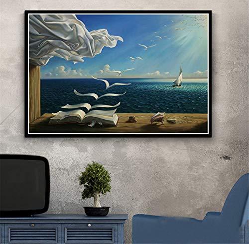 RUIYAN Leinwandbilder Wandkunst Bild Salvador Dali Surrealismus Abstrakte Poster Drucken Geschenk Ta76C 40X60Cm Rahmenlose