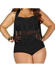 Femme Maillot de Bain Grande Taille 2 Pièces Tankini Sexy Push Up Bandage Bikini Taille Haute Cintrée Rembourrée