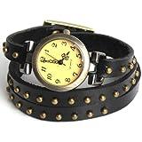 yesurpriseweave Fashion Rivet Weave Wrap alrededor de cuero retro pulsera mujer reloj de pulsera regalo negro