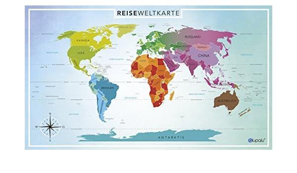 blupalu I Premium XXL Weltkarte mit Fähnchen I Pins I Landkarte I on