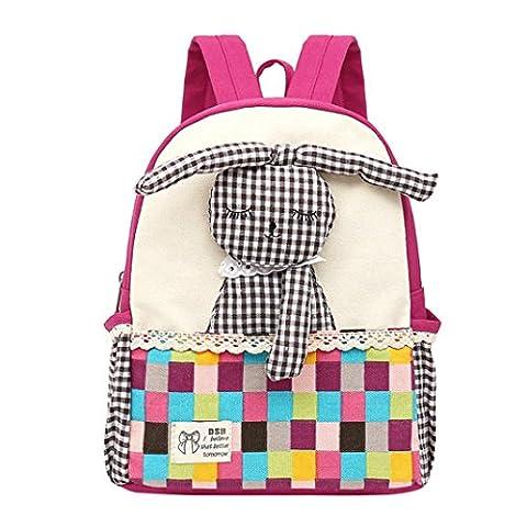 Masrin Cute Baby Girls Kids Rabbit Pattern Plaid Animals Backpack Toddler School Bag Fashion (Hot