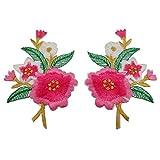1paio di toppe, a forma di fiori di gelsomino con foglie, ricamate, termoadesive o da cucire Rose