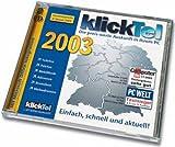 klickTel 2003, 2 CD-ROMs Die preis-werte Auskunft in Ihrem PC. Telefon, Telefax, Mobilfunk, Adressen, Branchen. Webadressen. Für Windows 95/98/2000/XP/ME/NT ab 4.0