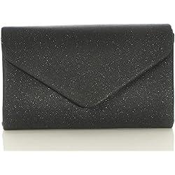 malito Damen Clutch | Abendtasche mit Kette | Unterarmtasche | Handtasche - Citybag - Tasche T400 (schwarz)