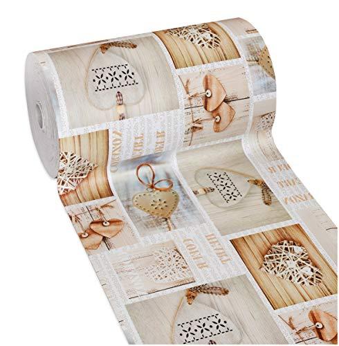 Tappeto cucina gomma shabby chic cuori antimacchia antiscivolo passatoia varie misure multiuso bagno camera mod.mendy dis.13 50x300