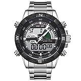 Uhr,Herrenuhren,Luxus Edelstahl Kalender Chronograph Wasserdichte Armbanduhr,Multifunktions LED Sport Casual Dress Uhren für Männer