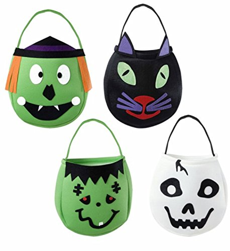 Trick Or Dekorationen Treat (4 Stoff-Taschen * HAPPY HALLOWEEN * für ein schauriges Halloween // Party Motto Deko Dekoration Kinder Geburtstag Birthday Mottoparty Stoff Beutel Katze Skelett Zombie Hexe Handbag Trick or Treat Handtasche)