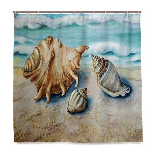 vinlin Ocean Beach Seashell Wasserdicht Badezimmer Zubehör Vorhang für die Dusche Badewanne Vorhang 182,9x 182,9cm