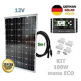 VIASOLAR 100W 12V Monokristallin Solaranlage ECO Solarmodul deutsche Solarzellen
