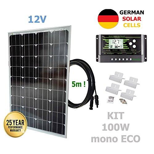 Kit 100W ECO 12V panel solar monocristalino células alemanasComposición del Kit Solar:Panel solar monocristalino 100W 12V células alemanas cable 5mRegulador solar de 20A 12V/24V con display y 2 USB LCD VIASOLAR4X Estructura metálica para paneles sola...