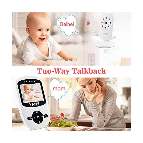 "Video Baby Monitor, Rongyuxuan 2.4 GHz Digital Wireless 2 Way Baby Monitor with Temperature Monitor, 900ft Transmission Range, Night Vision, ECO Mode High Capacity Battery  2.4"" COLOR HD LCD SCREEN - High quality display, providing a crystal clear image. 2.4GHz wireless digital signal provides high definition and stable streaming, secure interference-free connection. Auto Infrared Night Vision - Rest assured knowing you'll see your baby day and night. EXCELLENT TWO-WAY TALKBACK - Rongyuxuan Baby Camera Monitor adopts enhanced lossless two-way audio, you are able to talk or sing to your baby when needed. It is convenient to sooth your baby from another room. Up to 900 feet (OPEN SPACE) with out-of-range warning. Rich Features - Room Temperature Monitoring with High/Low Temperature Alerts, Eco Mode Voice Activation, Sound Activated LED Indicators, Alarm/Timer Setting, 2x Digital Zoom with Digital Image Pan/Tilt option, Multi-Camera Expandability (up to four cameras), Lullabies, Manual Pan (360 degrees) & Tilt (70 degrees), Auto Scan View, Tabletop or Wall Mounting Options. 2"