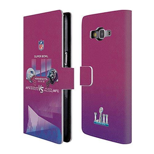 Head Case Designs Offizielle NFL Patriots Vs Eagles 4 2018 Super Bowl LII Versus Brieftasche Handyhülle aus Leder für Samsung Galaxy Grand Prime