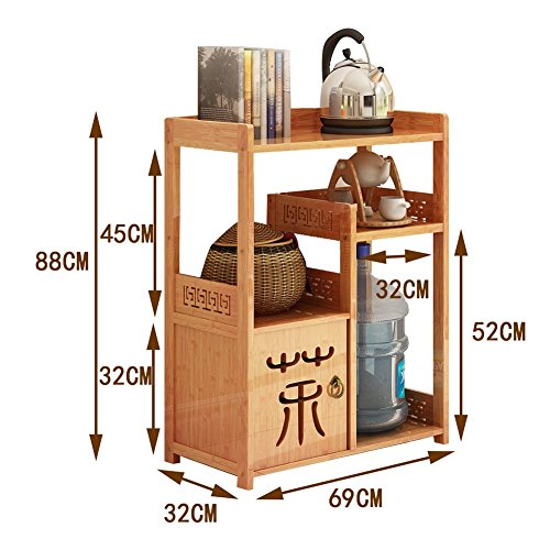 Aufbewahrung 4 Tier Kichen Wohnzimmer Lagerregal Freistehende Blumenständer mit Schublade Holz Multifunktionsregal (Größe : 4 Tier)