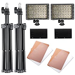 "Neewer® Photography 160 Led Studio Lighting Kit, Including (2)cn-160 Dimmable Ultra High Power Panel Digital Camera Dslr Camcorder Led Video Light (2)32"" 80cm Tall Studio Light Stand"