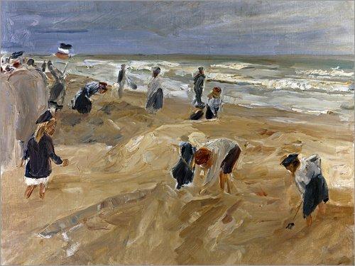 Posterlounge Leinwandbild 160 x 120 cm: Strandszene in Noordwijk von Max Liebermann/ARTOTHEK - fertiges Wandbild, Bild auf Keilrahmen, Fertigbild auf echter Leinwand, Leinwanddruck