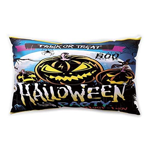 Blakww Halloween Party Rectangle Cushion Cover Cartoon Pumpkin Bat Witch Castle Printing Double-Sided Soft Plush Pillowcase 30 x 20 inhces (Nyc Club Halloween)