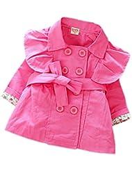 DELEY Niñas Niños de Doble Botonadura Turndown Collar de la Trinchera de la Chaqueta de Abrigo Vestido de Outwear