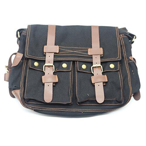 emotree Vintage Canvas signore borsa da viaggio sport zaino borsa Messenger Borsa a tracolla nero nero nero