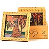 Gaura Art And Crafts Decorative Unique Gemstone Painted Table Desktop Square Tea Coaster Shwopiece Gifts Set (White-4x5 Inch)