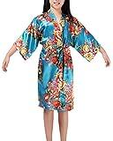 Kinder Mädchen Morgenmantel Kimono Nachtwäsche Bademantel Pyjamas mit Blumenmuster für Sleepwear Casual Vintage Retro Lakeblue L