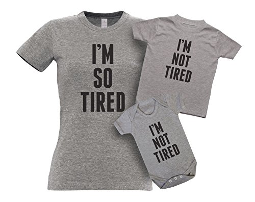 ART HUSTLE I'm So Tired and I'm Not Tired - Mother and Baby Matching Outfits T Shirt and Bodysuit