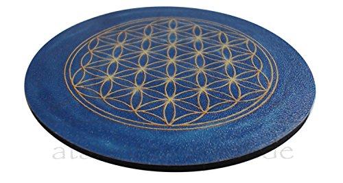atalantes spirit - Blume des Lebens-Untersetzer für Gläser – 4 Stück im SET - Farbe: dunkelblau - Größe: 9,5 cm – Lebensblume-Symbol - Stirnchakra