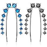 2 Pares 7 Cristales Orejeras Orejeras Aro Arrancador Orejeras Orejeras Pendiente para las mujeres Favores (Azul claro y Negro)