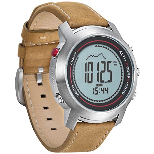 Spovan Outdoor Herren-Armbanduhr mit Lederarmband, mit Kompass/Pacer/LED-Hintergrundbeleuchtung, wasserdicht, silberfarben, MG01