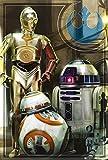 """Star Wars Puzzle Droiden, 160 Teile Die drei Droiden R2-D2, C-3PO und BB-8 zieren dieses 27 x 41 cm große Puzzle. Die 160 Puzzleteile lassen sich gut greifen und die tollen Farben und das blaue """"Justice Rebel Forces""""-Symbol werden jeden Star Wars-Fan begeistern."""