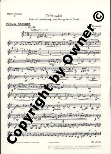 Plöner Musiktag: B Tafelmusik. Flöte, Trompete oder Klarinette und Streicher (hoch, mittel, tief). mittleres Instrument.