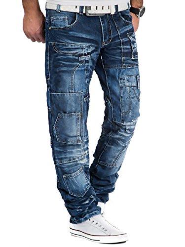 Kosmo Lupo Herren Jeans Hose Denim Japan Style Used Vintage Look Blau Blau