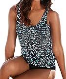AHOOME bademode damen große größen ,damen Bikini-Sets Oversize Blume Tankini Set(Mehrfarbig1,L)