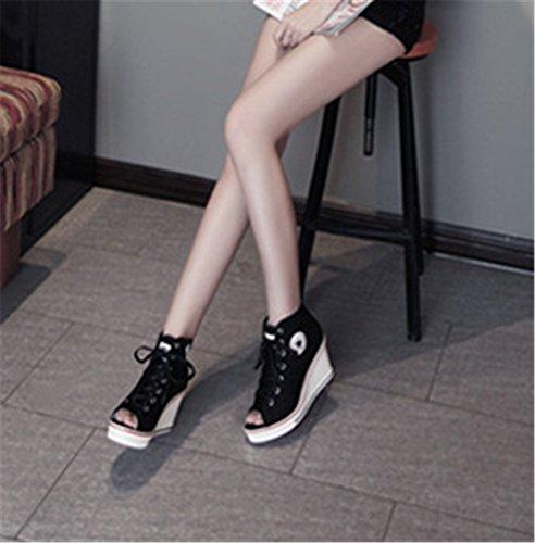 Wealsex Basket Montante Compensées Femme Bout Ouvert Chaussure Toile Plateforme Grande Taille 40 41 42 43 Noir