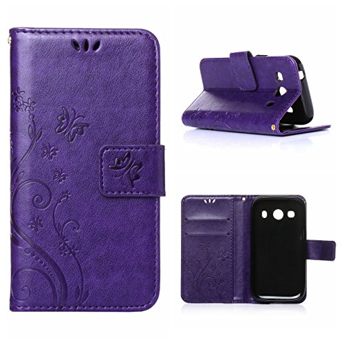 MOONCASE Galaxy Ace 4 Custodia in pelle Protettiva Flip Cover per Samsung Galaxy Ace 4 SM-G357 SM-G357FZ Fiore Snap-on Magnetico Bookstyle TPU Case Porpora