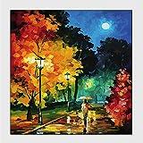 LIUXIAOYAN Nachtgelb Straßenlaterne Ölgemälde Ölgemälde allein Junge Frau mit Regenschirm in der Nähe von Retro-Straßenlaterne in Einer Regnerischen Nacht, Polyester Stoff Badezimmer Duschvorhang